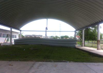 Construcción de arcotecho en Escuela-Xicotencatl