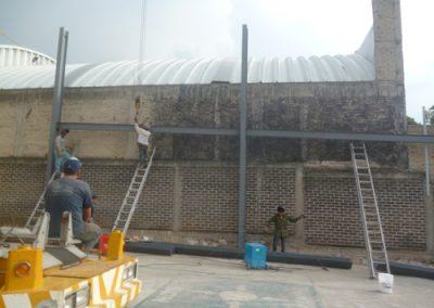 instalación de trabes en Lago Guadalupe