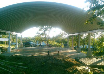 Construcción de techo curvo laminado en Tempoal Veracruz